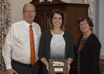 Shawnee Kelly (center) with Gordon Jensen (L) and Dean Ann C. Crouter.