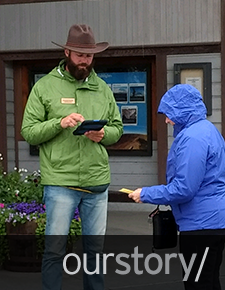 Jeremiah Gorske conducting interview