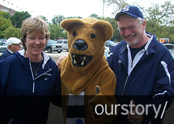 Sue and Steve Landes with Nittany Lion mascot
