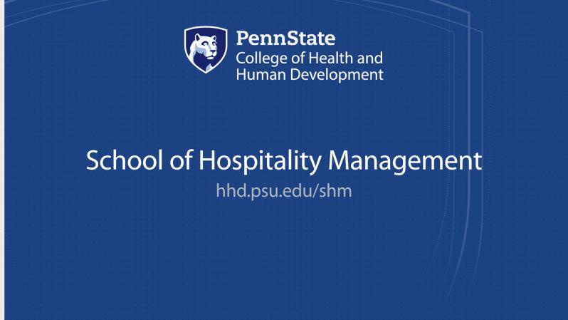 Penn State College of Health and Human Development logo - School of Hospitality Management - hhd.psu.edu/shm