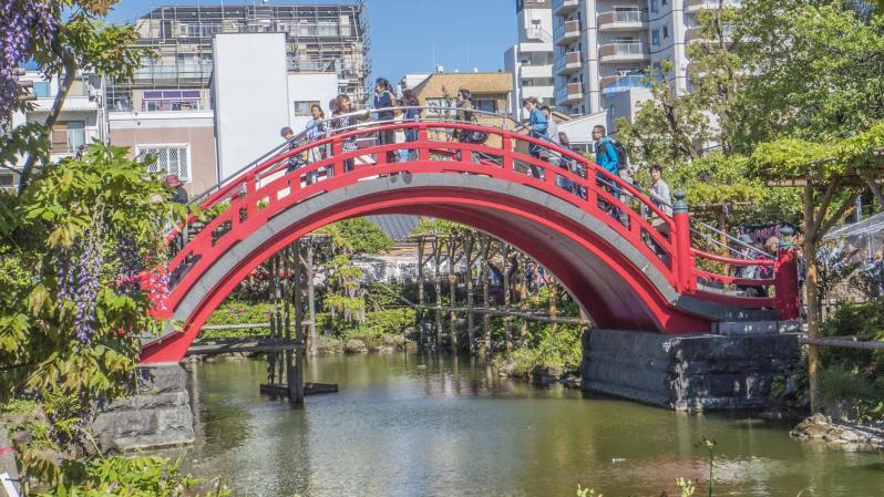 Red arch bridge over water in a city.