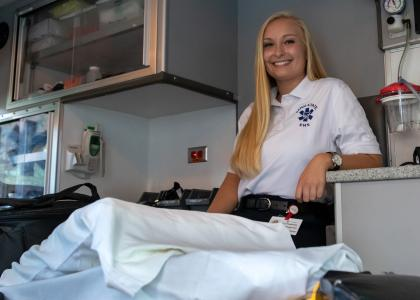 Sophie Campbell in a University Ambulance