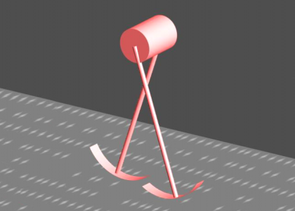 A computer-generated image of a walking model consisting of two legs attached to a hip.