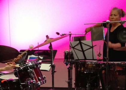 Percussionists Robyn Schulkowsky and Joey Baron