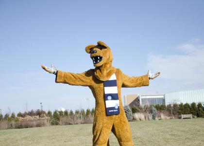 The Nittany Lion outside the Lewis Katz Building on the University Park campus.