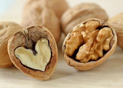 open walnut with heart