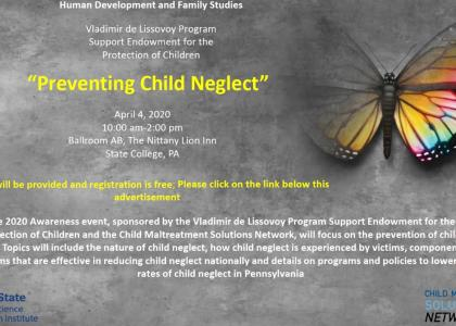 Flier for the 2020 Awareness Event on Child Neglect