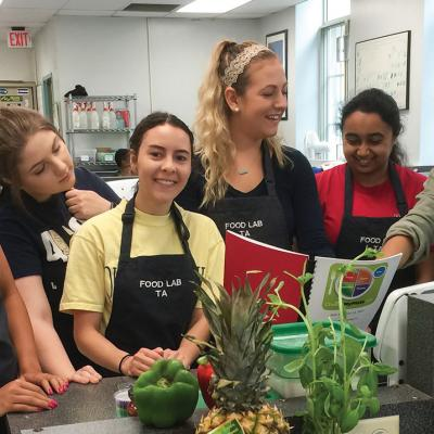 Students together in the cooking lab