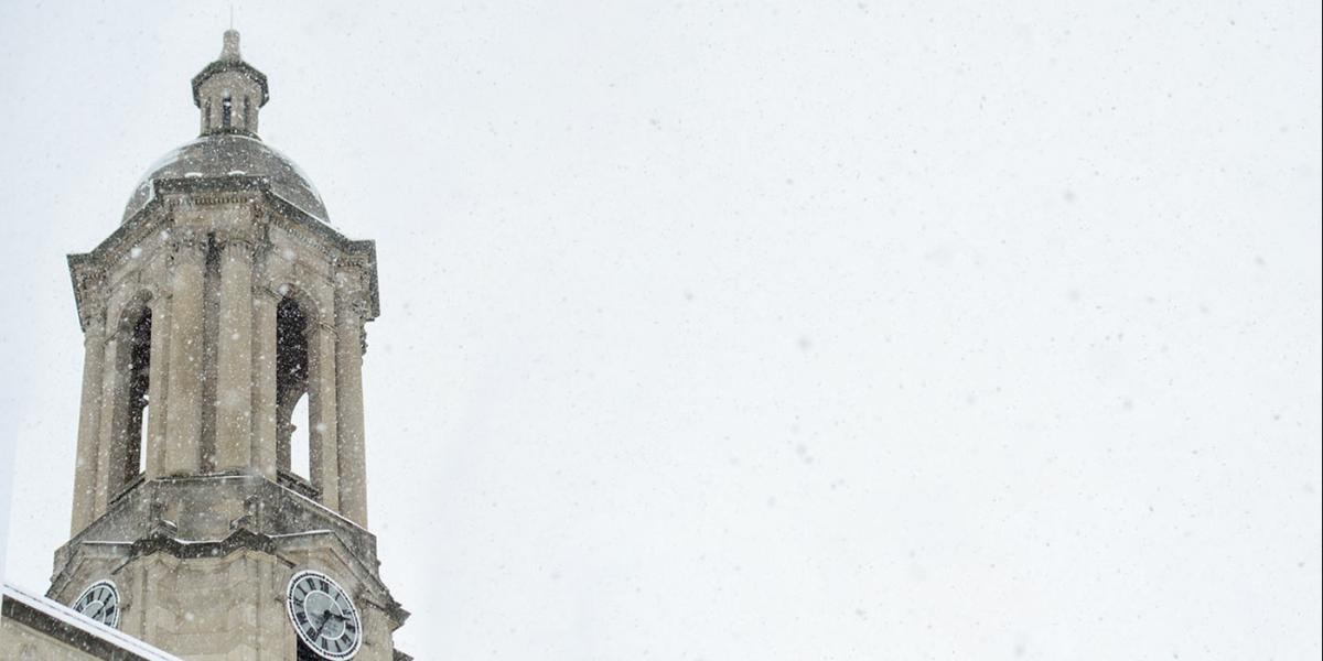 Old Main bell tower in the snow