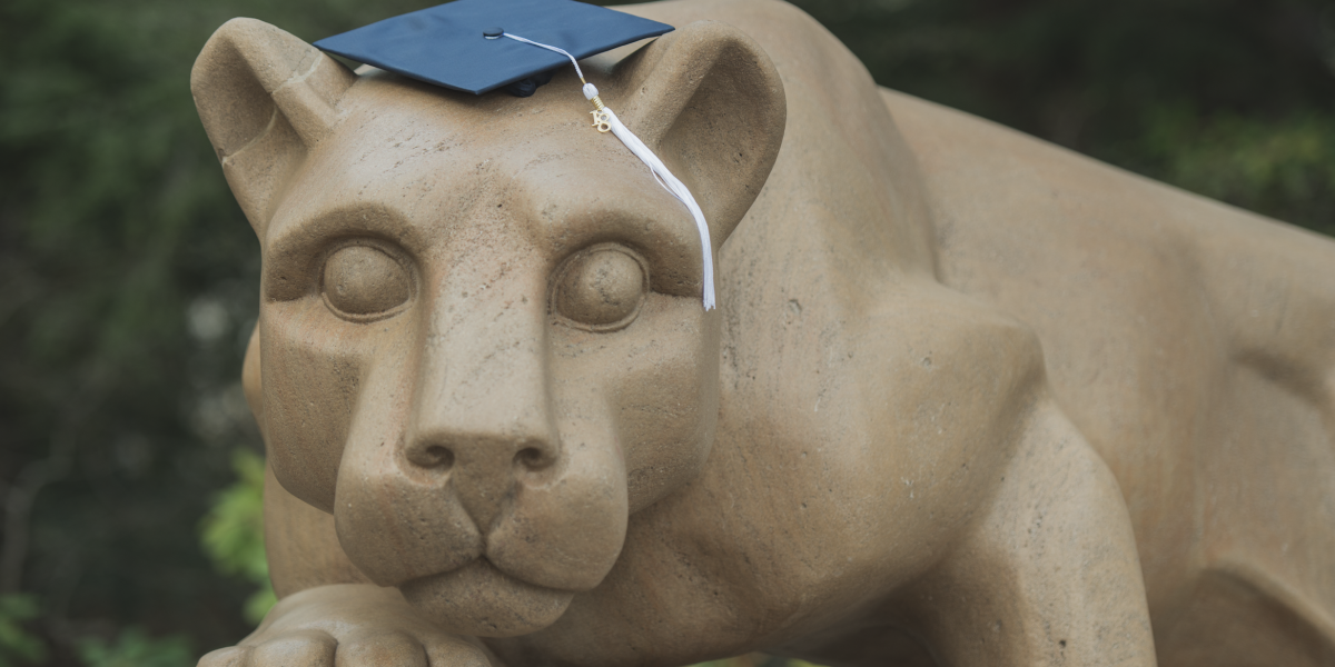 Nittany Lion with graduation cap