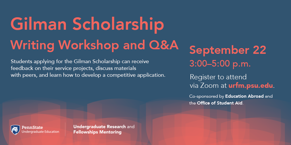 Next Tuesday, Sept. 22nd, there will be a writing workshop and Q&A session for students applying for the Gilman Scholarship.